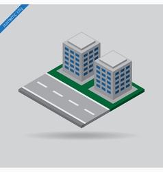 Isometric city - road and two buildings vector
