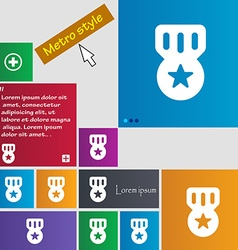 Award Medal of Honor icon sign Metro style buttons vector image