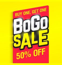 bogo sale banner vector image vector image