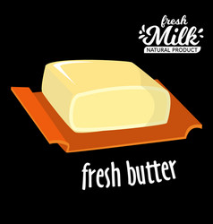 Brick of butter on plate milk based product vector