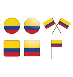 buttons with flag of Colombia vector image vector image
