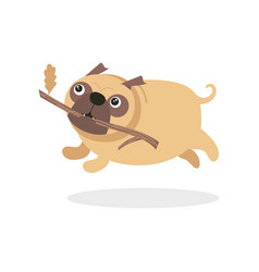 cute pug dog character running with stick pet dog vector image vector image