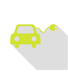Eco electric car sign pear icon with flat style vector