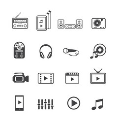 entertainment icons set on texture background vector image