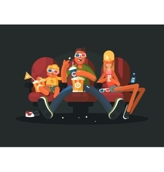 Family in the cinema watching movie vector image