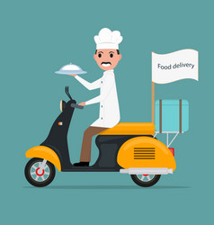Funny cartoon chef cook man scooter food vector