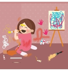 Girl doodling drawing on wall messy house vector