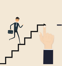 hand drawing a ladder for young businessmanhand vector image