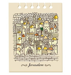 Hand drawing jerusalem vector