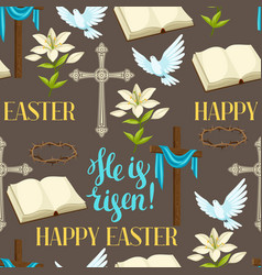 Happy easter seamless pattern of decorative vector