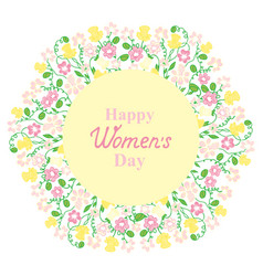 Happy womens day flower and herbage wreath vector