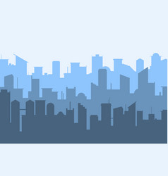 random blue city skyline on light background vector image vector image