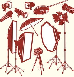 set of photo studio equipment vector image