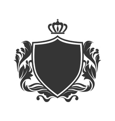 Shield ornament crown vector