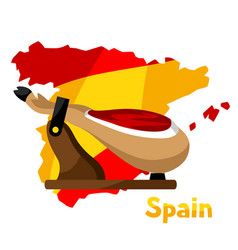 Traditional spanish food jamon pork vector
