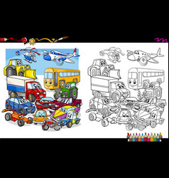 transport vehicles group coloring page vector image