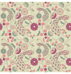 Vintage Floral Peacock pattern vector image vector image