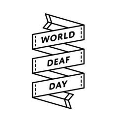 world deaf day greeting emblem vector image vector image