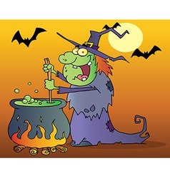 Ugly witch preparing a potion in halloween night vector