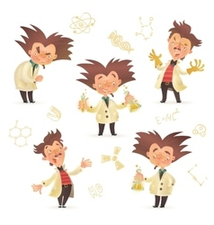 Stereotypic bushy haired mad professor wearing lab vector