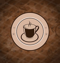 Retro background with coffee mug coffee bean vector image