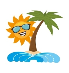 Summer beach with palms vector