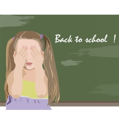 Little girl being unhappy back to school vector