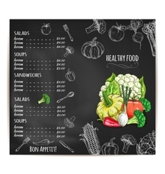 Restaurant menu with vegetables on chalkboard vector image