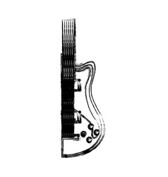 blurred silhouette half electric guitar vector image
