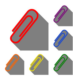 Clip sign  set of red orange yellow vector