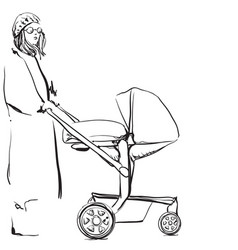 Young woman walking with her newborn child baby vector