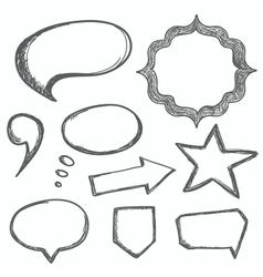 hand drawn speech bubbles vector image