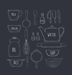 Food baking and equipment sketch icon set vector