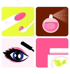Cosmetic and makeup icons vector