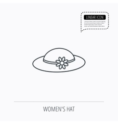 Female hat with flower icon women headdress vector