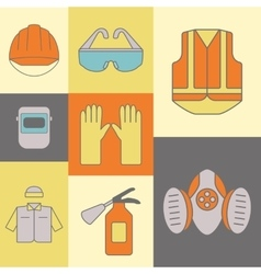Background of safety work icons including vector