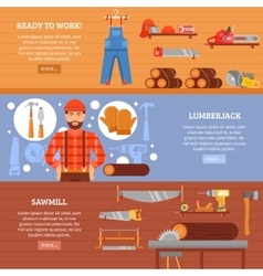 Lumberjack and sawmill horizontal banners set vector