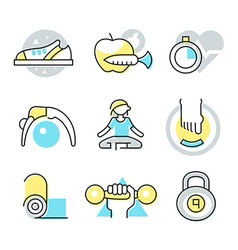 Fitness and body care icons vector