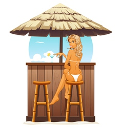 Sexy girl in beach bar vector