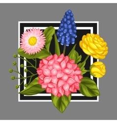 Background with garden flowers decorative vector