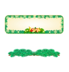 Banner christmas spruce with fruit and pine cones vector