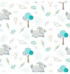 Blue bunny in abstract woods seamless pattern vector image