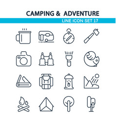 camping and adventure line icon set vector image