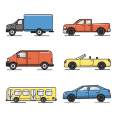 collection of colored thin line transportation vector image vector image