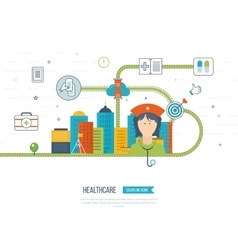 Concept for healthcare medical help and research vector