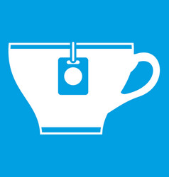 Cup with teabag icon white vector