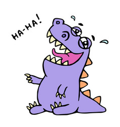 cute purple dragon funny laughs vector image