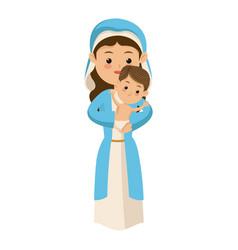 Cute virgin mary holding baby jesus cartoon vector