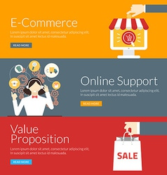 Flat design concept for e-commerce online support vector