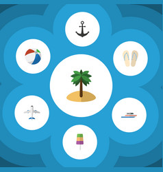 Flat icon summer set of beach sandals boat vector